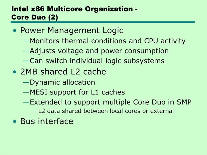 Intel x86 Multicore Organization -