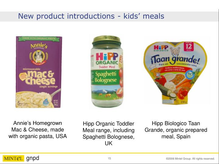 New product introductions - kids' meals