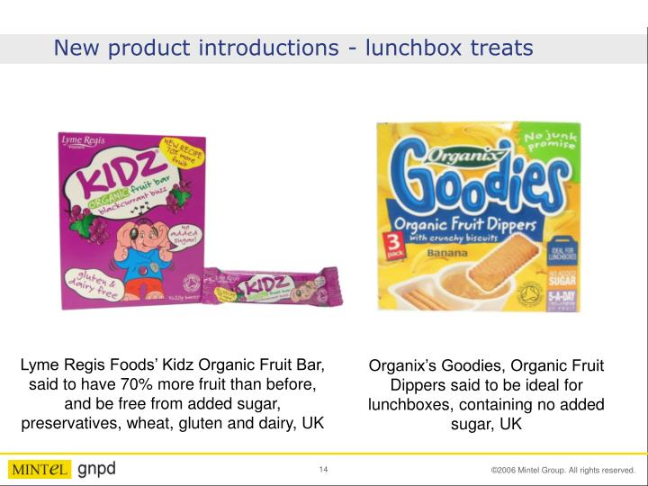 New product introductions - lunchbox treats