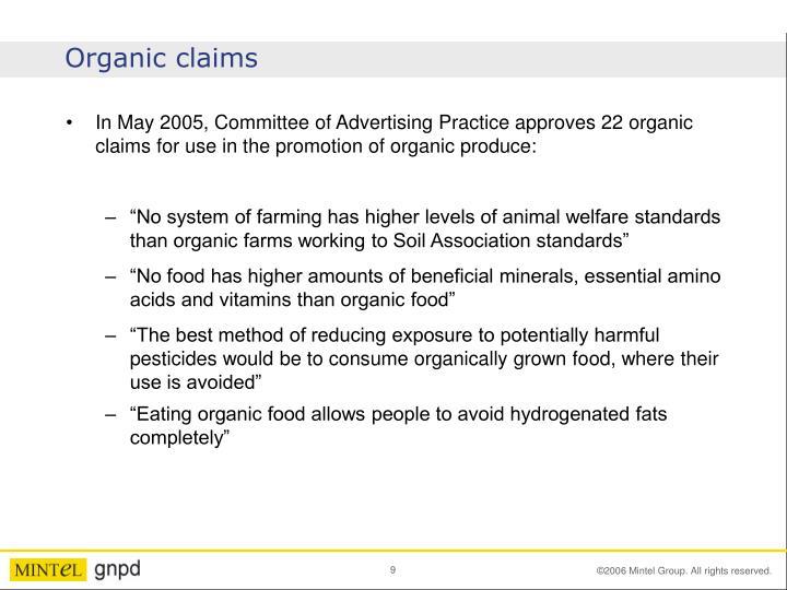 Organic claims