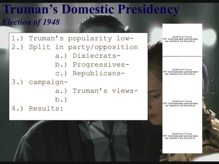 Truman's Domestic Presidency