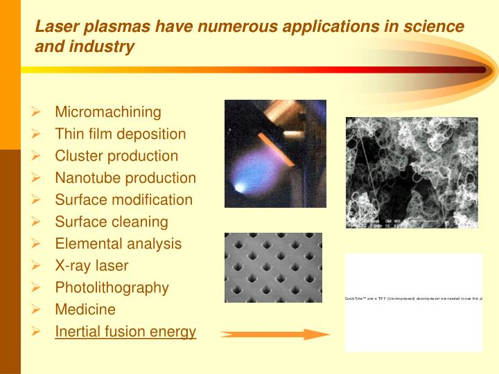 Laser plasmas have numerous applications in science and industry