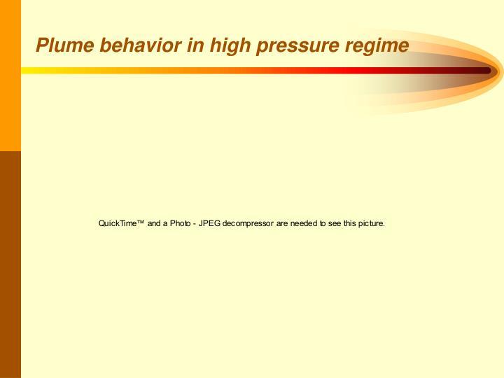Plume behavior in high pressure regime