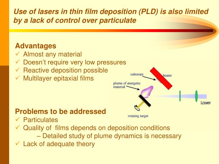 Use of lasers in thin film deposition (PLD) is also limited by a lack of control over particulate