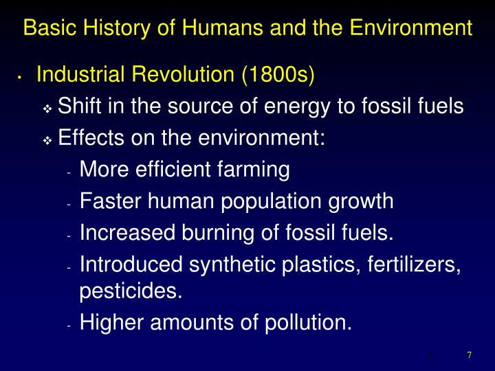 Basic History of Humans and the Environment