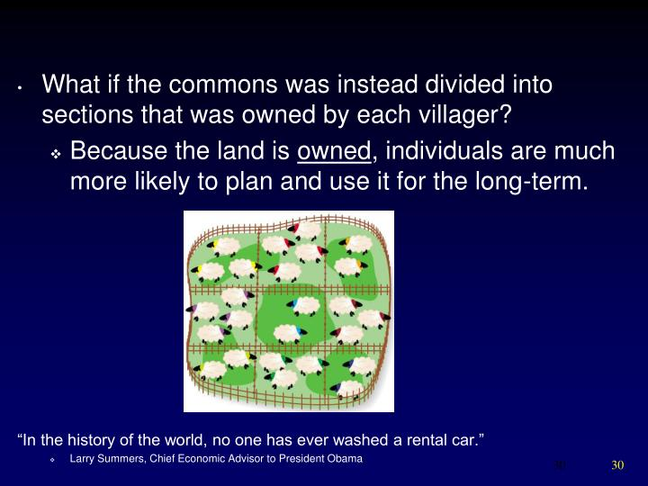 What if the commons was instead divided into sections that was owned by each villager?