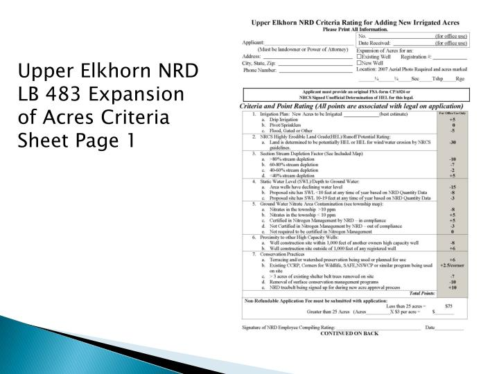 Upper Elkhorn NRD LB 483 Expansion of Acres Criteria Sheet Page 1
