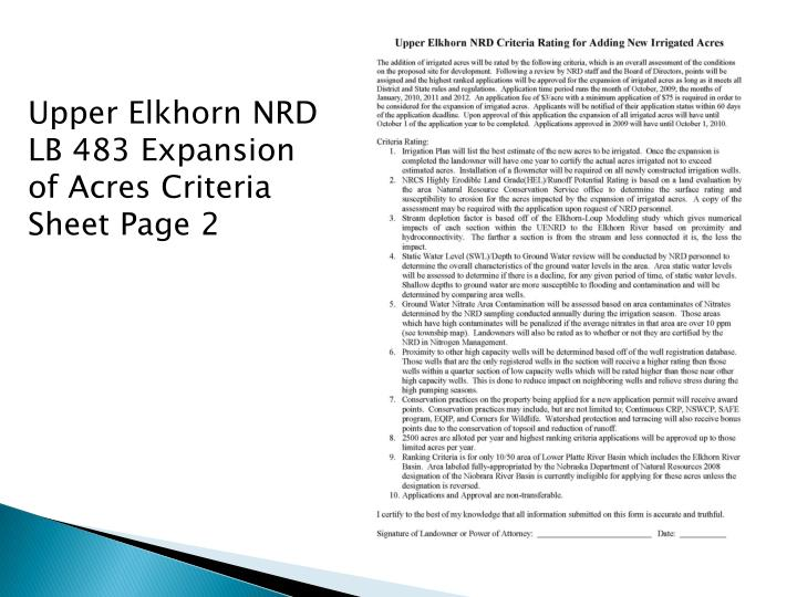 Upper Elkhorn NRD LB 483 Expansion of Acres Criteria Sheet Page 2