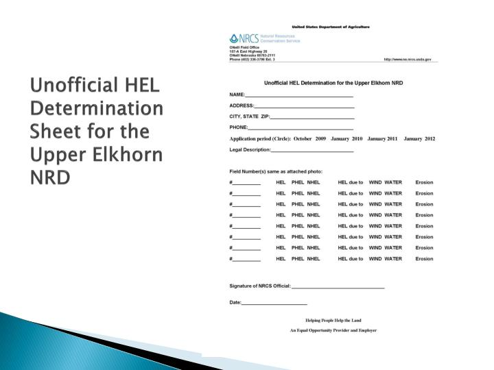 Unofficial HEL Determination Sheet for the Upper Elkhorn NRD
