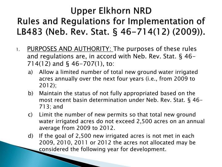 Upper elkhorn nrd rules and regulations for implementation of lb483 neb rev stat 46 714 12 2009