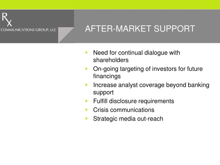 AFTER-MARKET SUPPORT