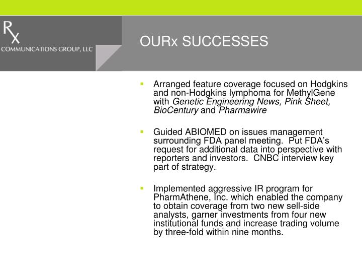 OURx SUCCESSES