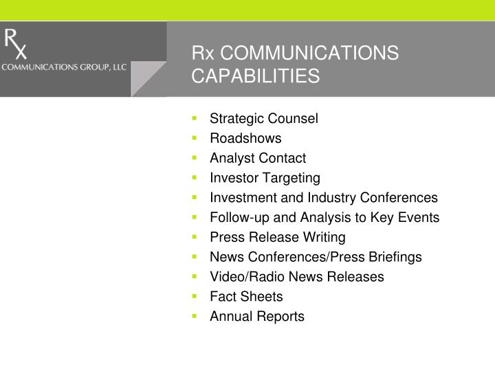 Rx COMMUNICATIONS CAPABILITIES