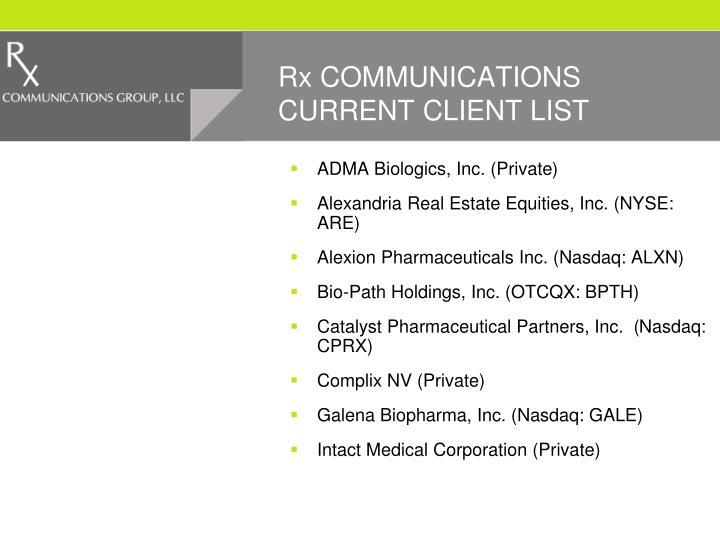 Rx COMMUNICATIONS CURRENT CLIENT LIST