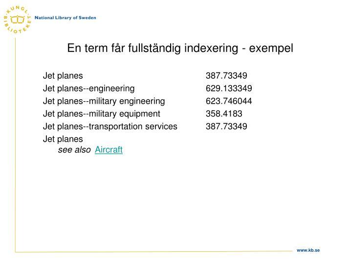 En term får fullständig indexering - exempel