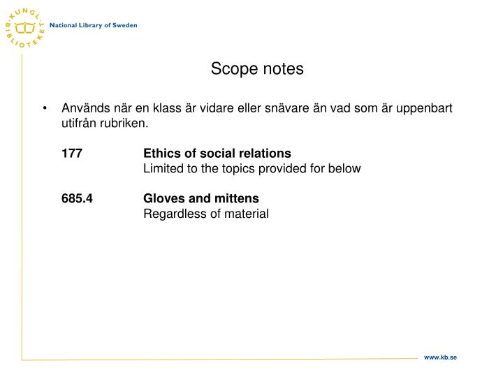 Scope notes