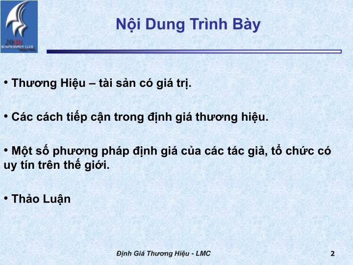 Nội Dung Trình Bày