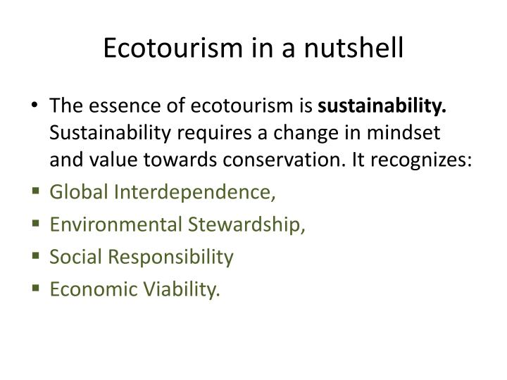 Ecotourism in a nutshell