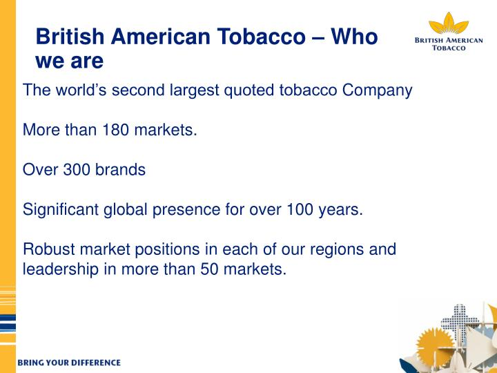 British american tobacco who we are