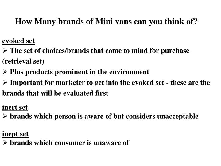 How Many brands of Mini vans can you think of?