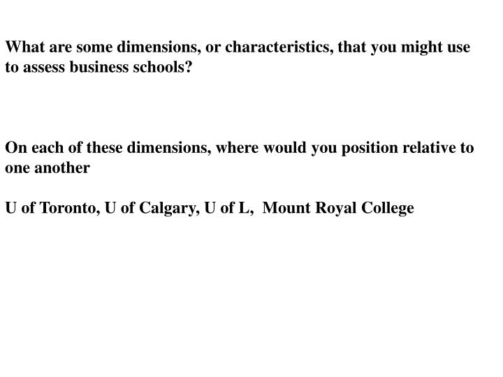 What are some dimensions, or characteristics, that you might use to assess business schools?