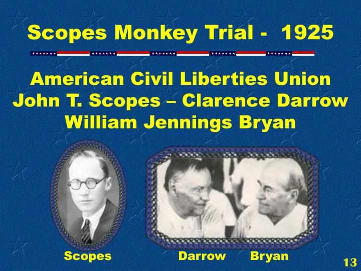 American Civil Liberties Union John T. Scopes – Clarence Darrow               William Jennings Bryan