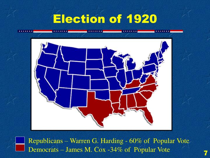 Republicans – Warren G. Harding - 60% of  Popular Vote