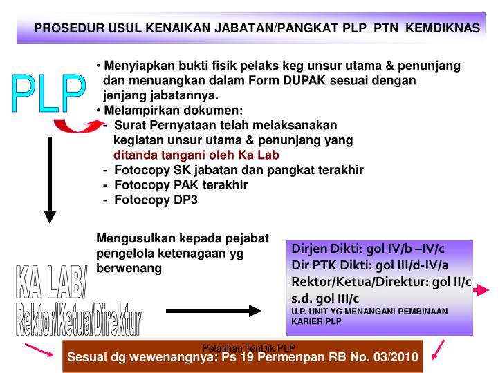PROSEDUR USUL KENAIKAN JABATAN/PANGKAT PLP  PTN  KEMDIKNAS