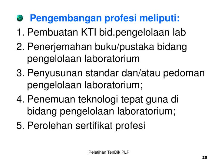 Pengembangan profesi meliputi: