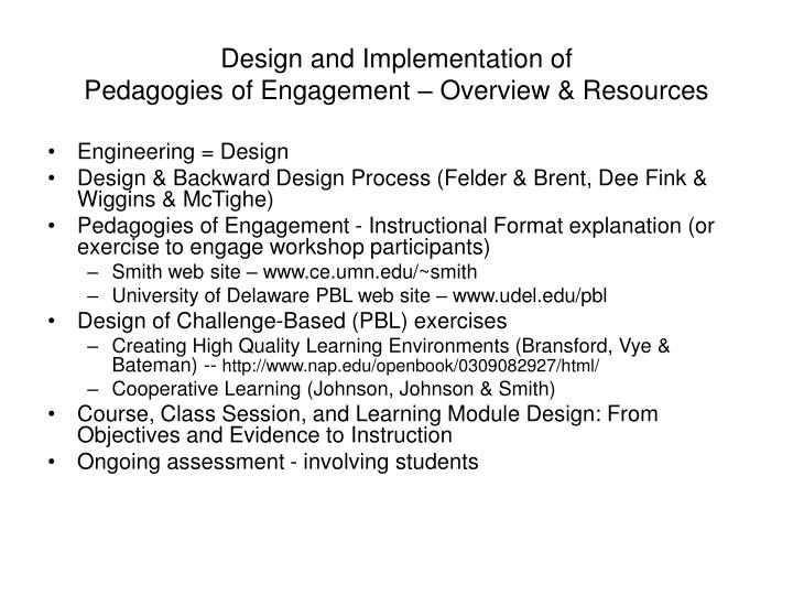 Design and implementation of pedagogies of engagement overview resources