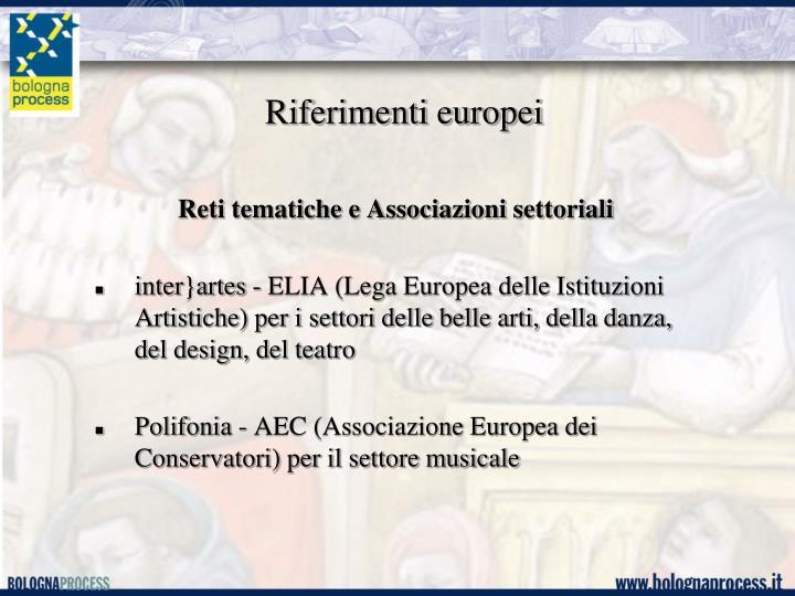 Riferimenti europei