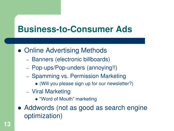 Business-to-Consumer Ads