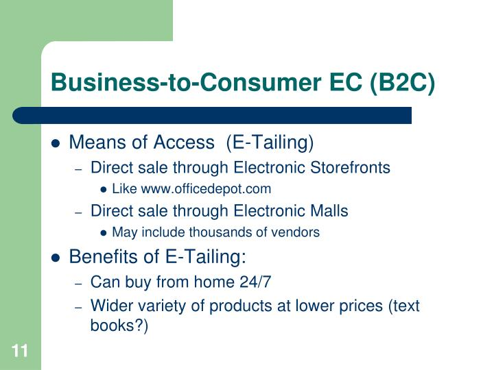 Business-to-Consumer EC (B2C)