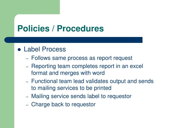 Policies / Procedures