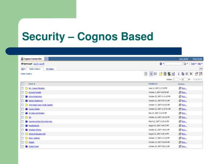 Security – Cognos Based