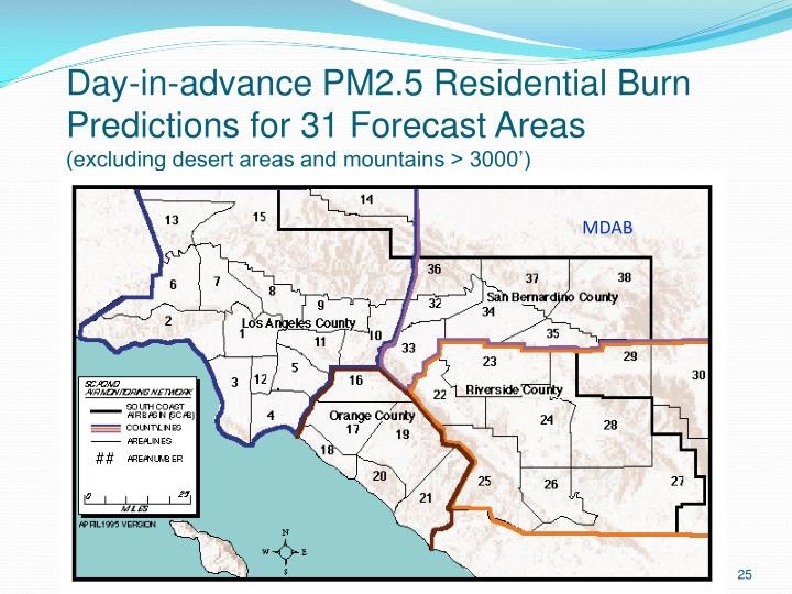 Day-in-advance PM2.5 Residential Burn Predictions for 31 Forecast Areas