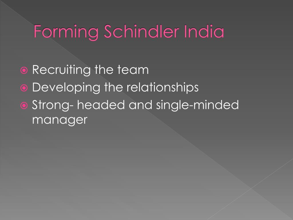 Forming Schindler India