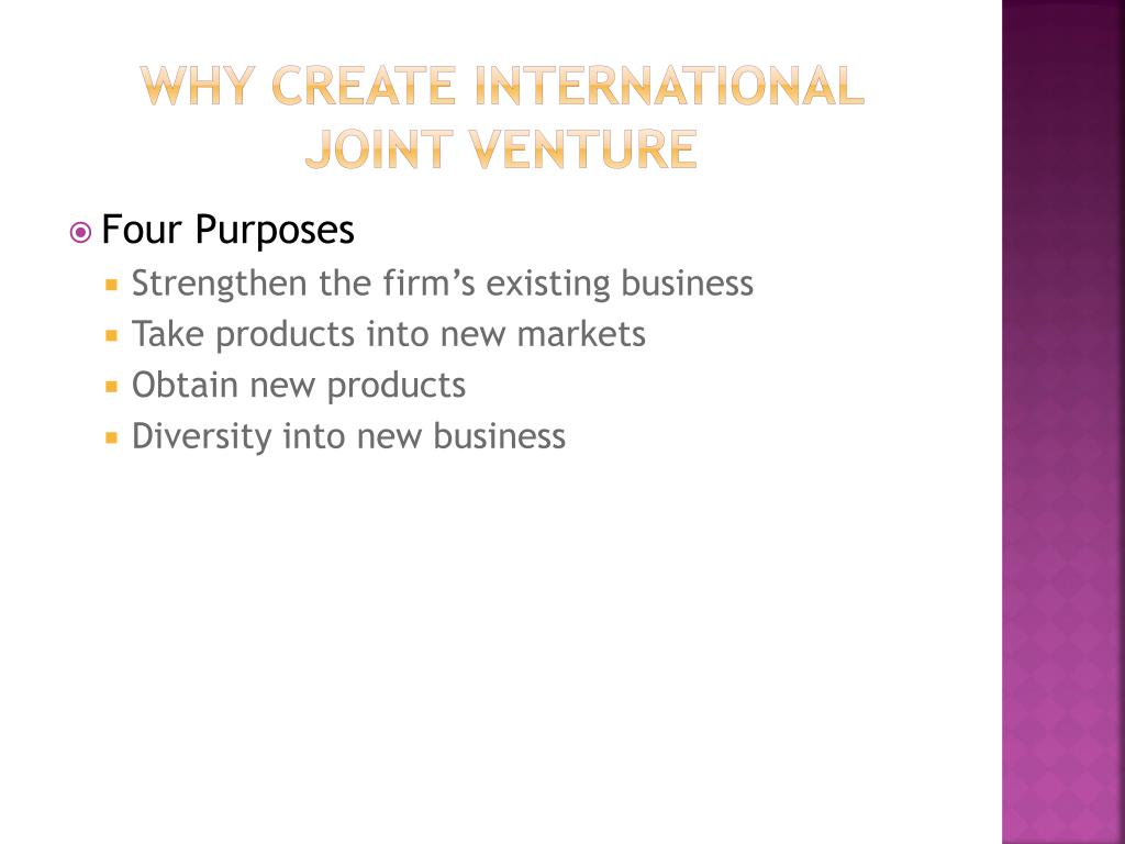 Why Create International Joint Venture