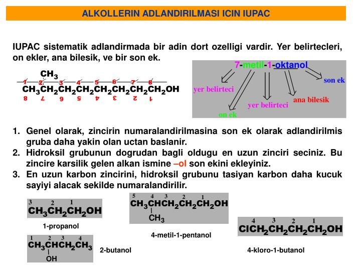 ALKOLLERIN ADLANDIRILMASI ICIN IUPAC