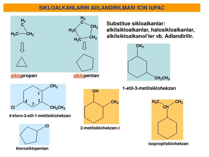 SIKLOALKANLARIN ADLANDIRILMASI ICIN IUPAC