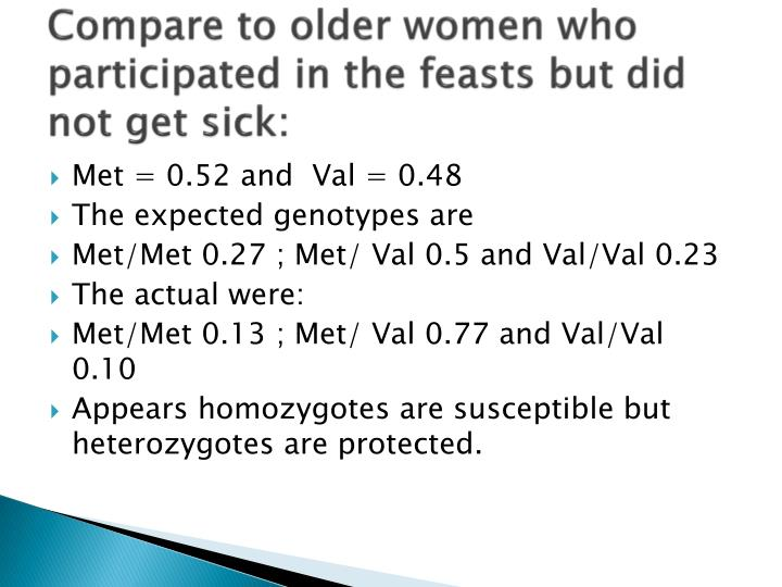 Compare to older women who participated in the feasts but did not get sick: