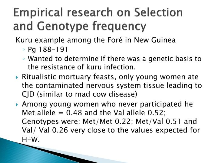 Empirical research on Selection and Genotype frequency