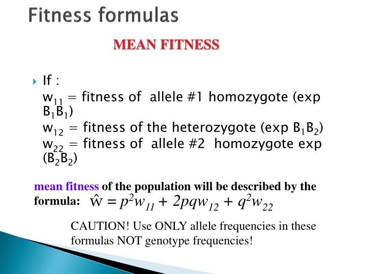 Fitness formulas