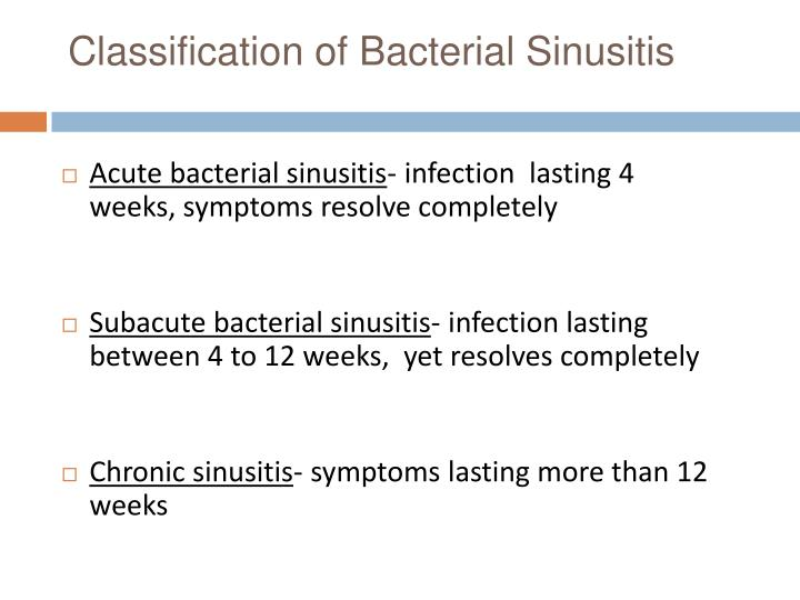 Classification of Bacterial Sinusitis