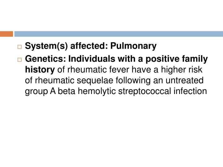 System(s) affected: Pulmonary