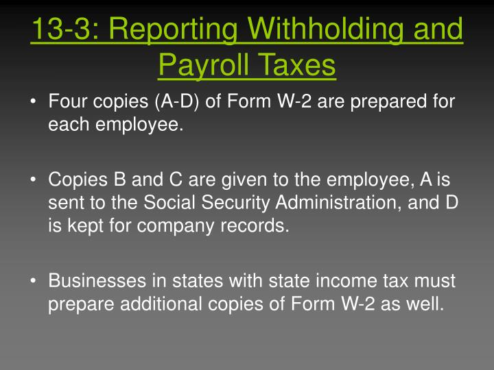 13-3: Reporting Withholding and Payroll Taxes