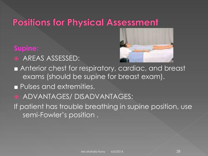 Positions for Physical Assessment