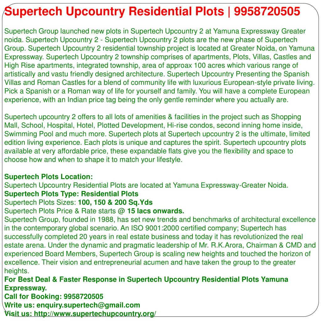 Supertech Upcountry Residential Plots | 9958720505