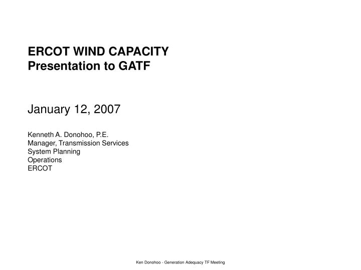 ERCOT WIND CAPACITY