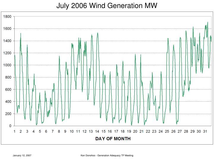 July 2006 Wind Generation MW